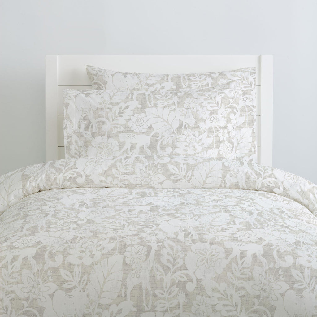 Product image for French Gray and White Jungle Duvet Cover