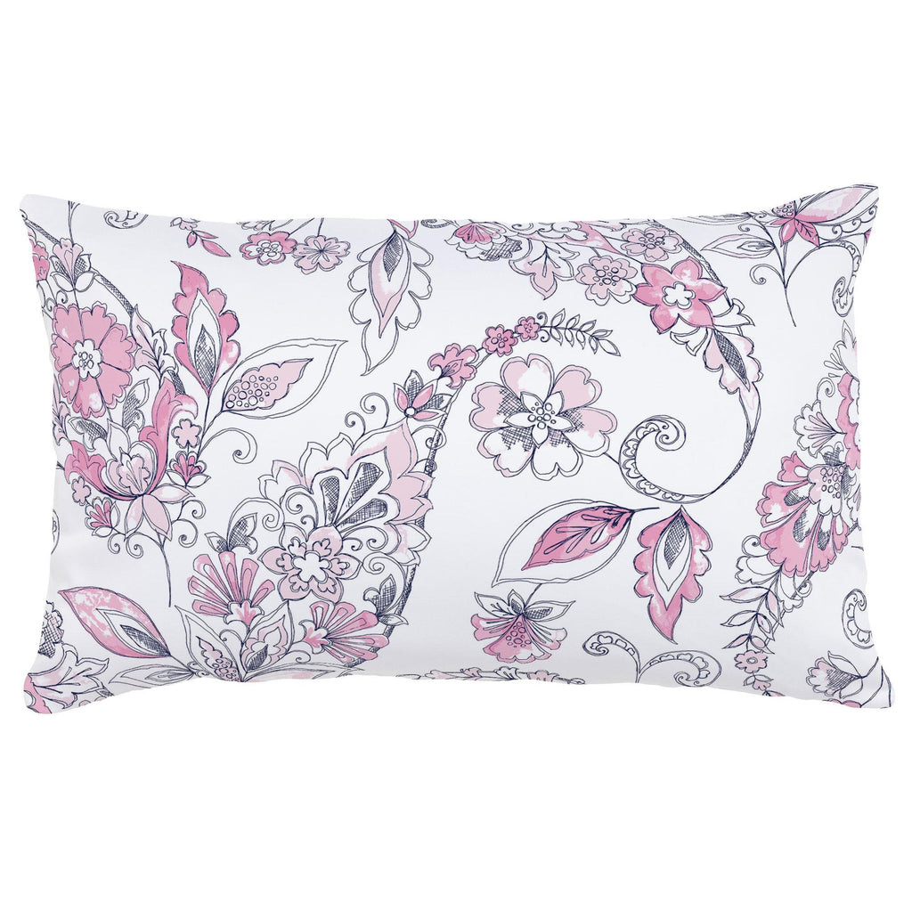 Product image for Pink and Navy Sketchbook Floral Lumbar Pillow