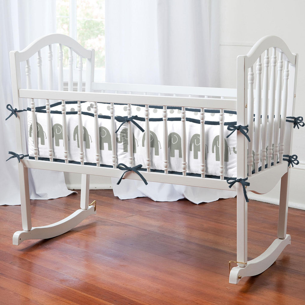 Product image for Navy and Gray Elephants Cradle Bumper