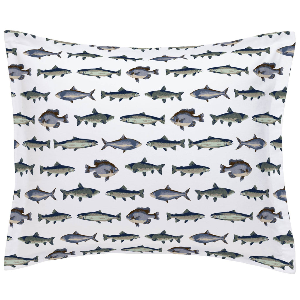 Product image for Navy and Seafoam Fish Pillow Sham
