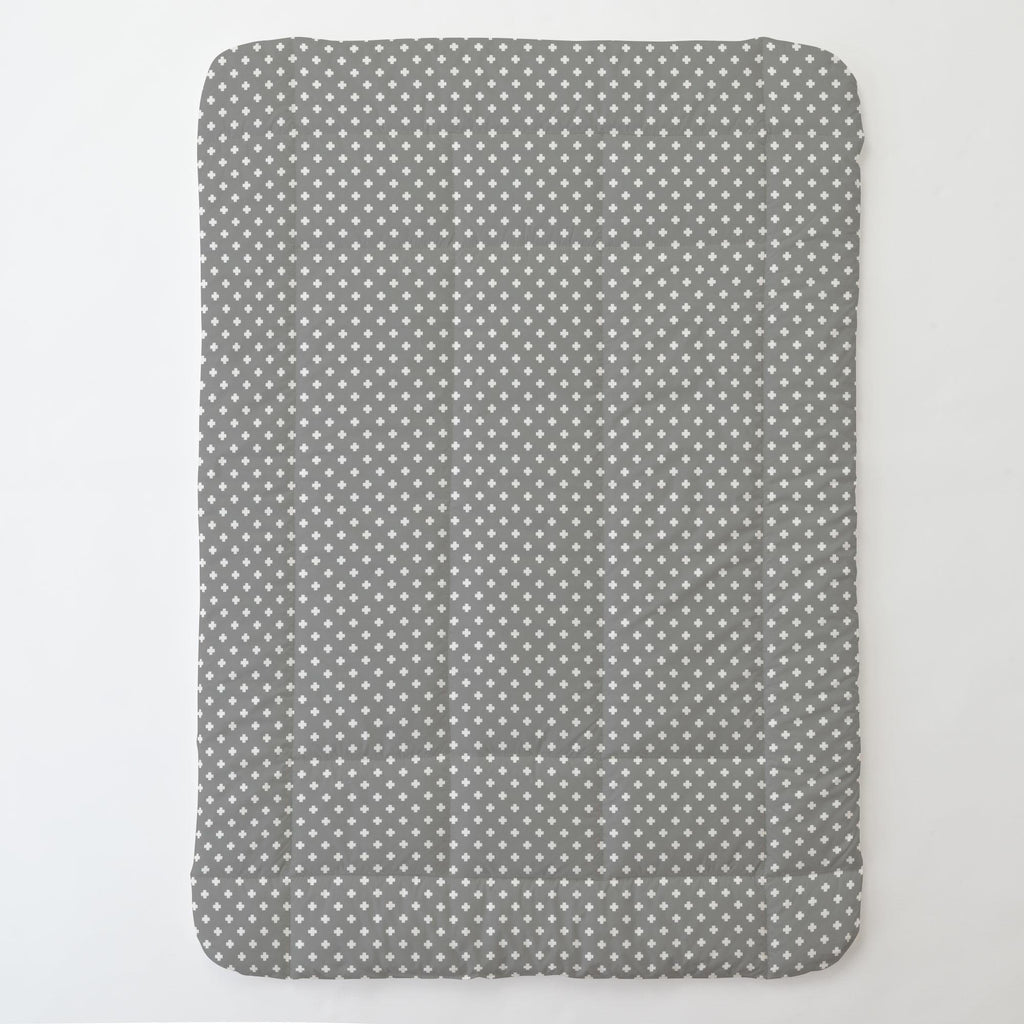 Product image for Gray Mini Swiss Cross Toddler Comforter