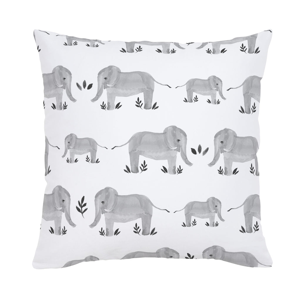 Product image for Gray Painted Elephants Throw Pillow