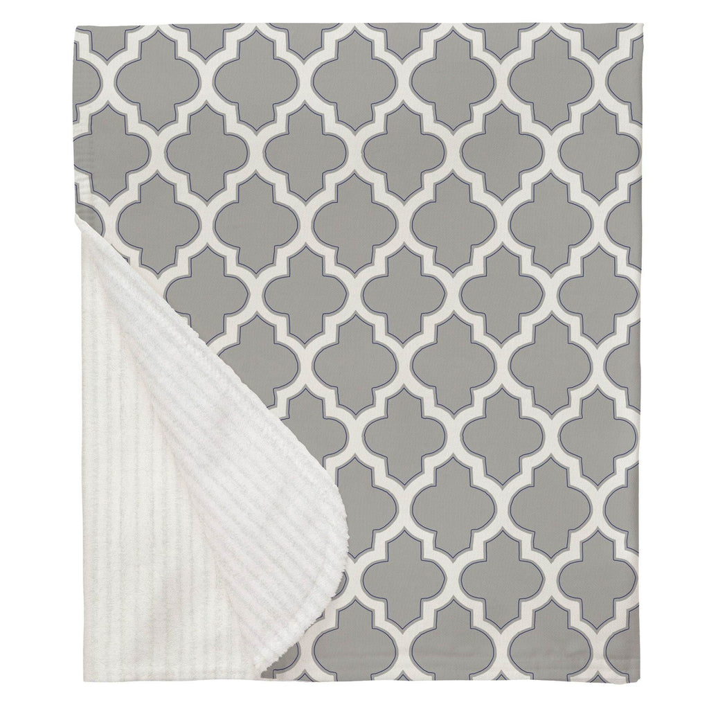 Product image for Silver Gray and Navy Hand Drawn Quatrefoil Baby Blanket