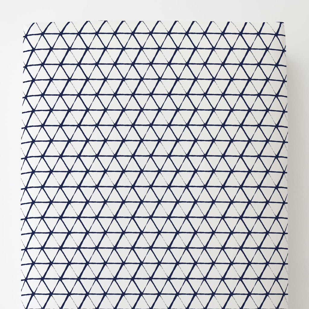 Product image for White and Navy Aztec Triangles Toddler Sheet Bottom Fitted
