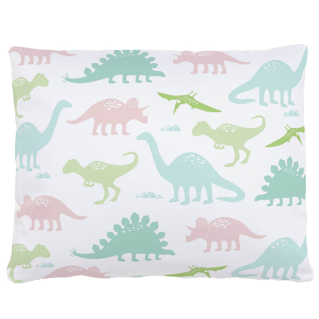 Product image for Pale Pink and Mint Dinosaurs Accent Pillow