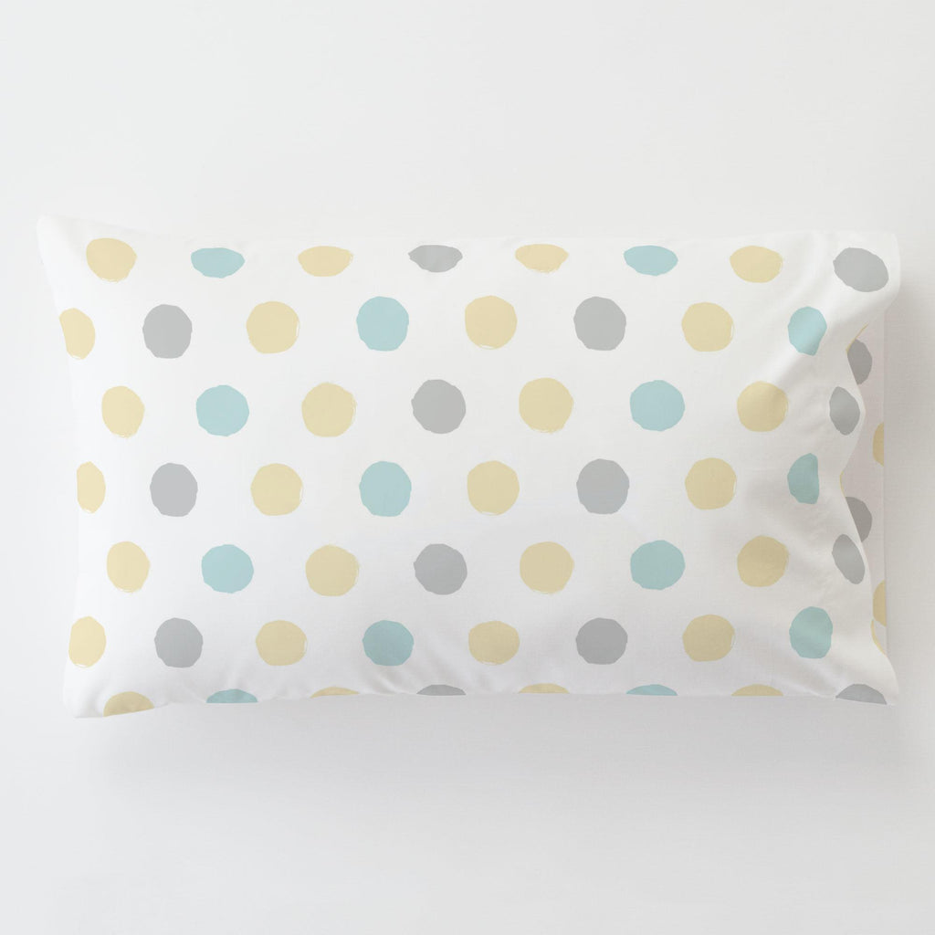 Product image for Mist and Gray Brush Dots Toddler Pillow Case with Pillow Insert