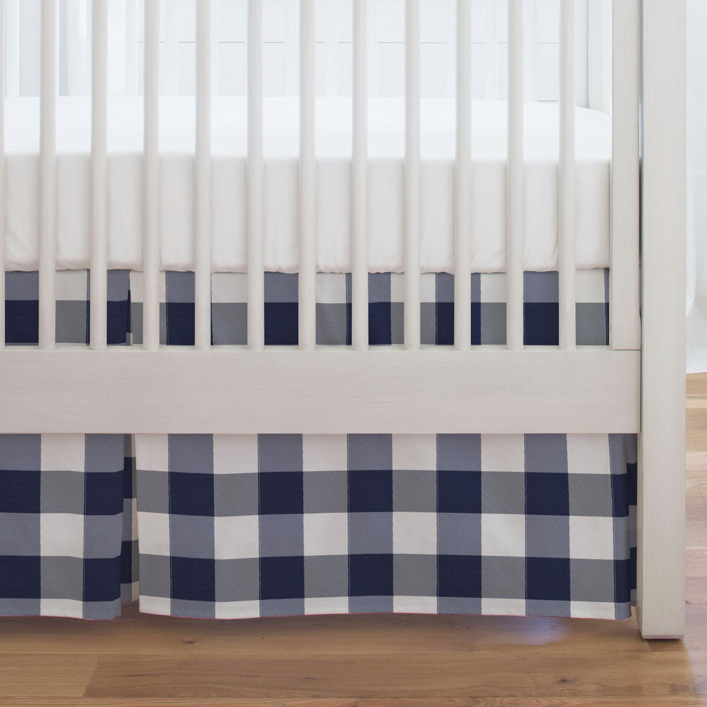 Product image for Navy and White Buffalo Check Crib Skirt Single-Pleat