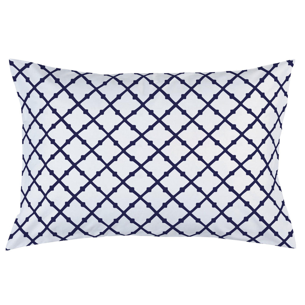 Product image for Windsor Navy Lattice Pillow Case