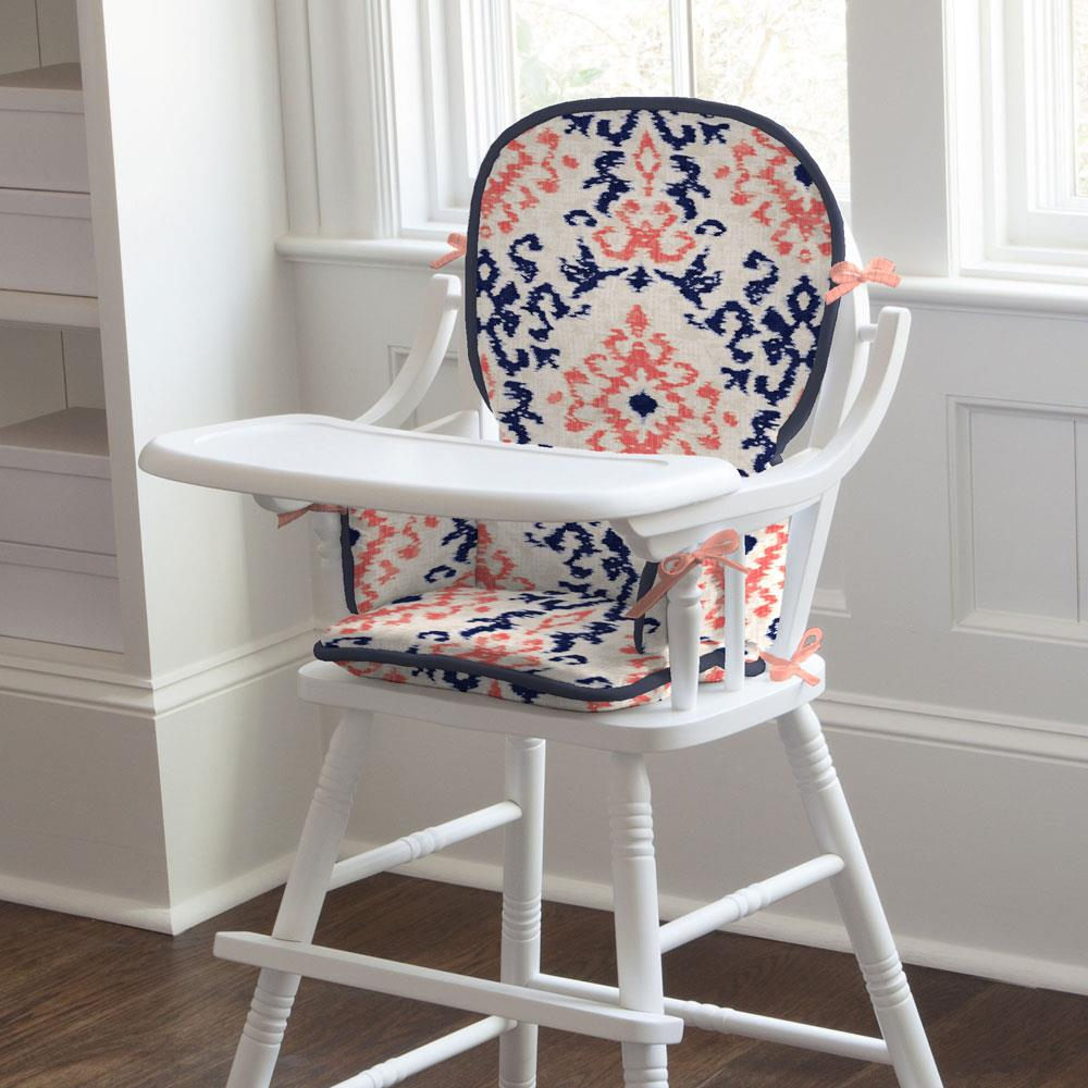 Product image for Navy and Coral Ikat Damask High Chair Pad