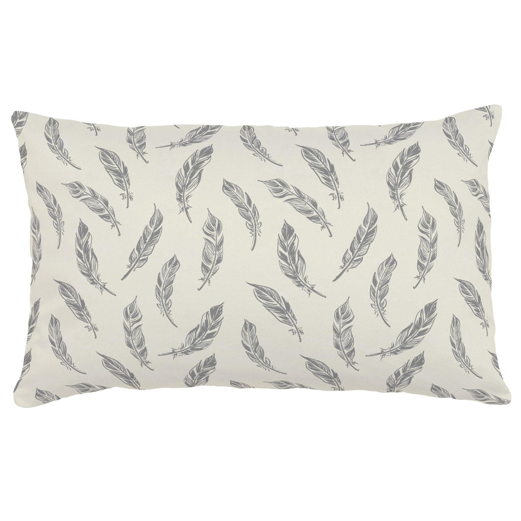 Product image for Natural Gray Feathers Lumbar Pillow