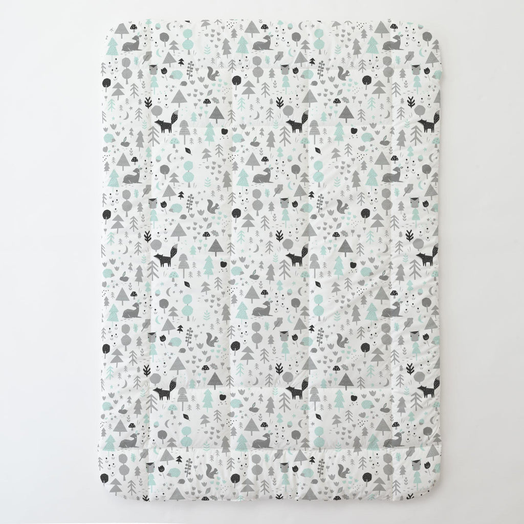 Product image for Icy Mint and Silver Gray Baby Woodland Toddler Comforter