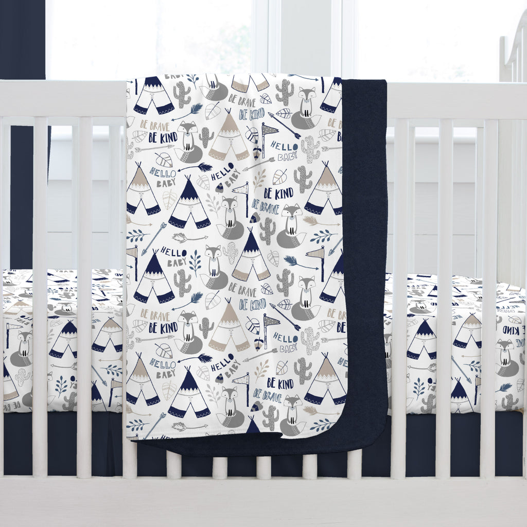 Product image for Navy Brave Fox Baby Blanket
