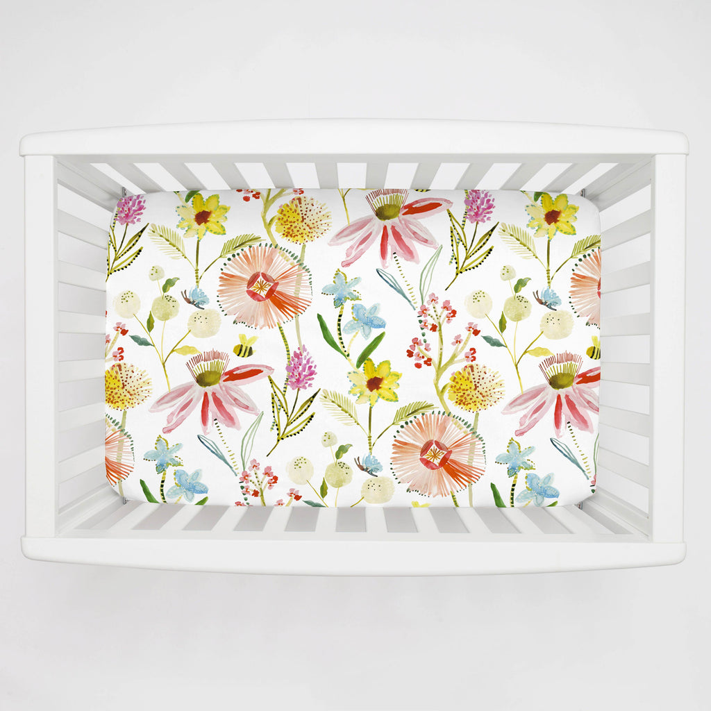 Product image for Watercolor Springtime Mini Crib Sheet
