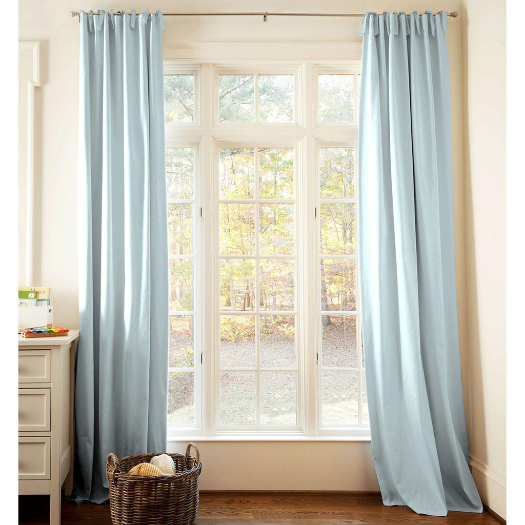 Product image for Solid Robin's Egg Blue Drape Panel with Ties