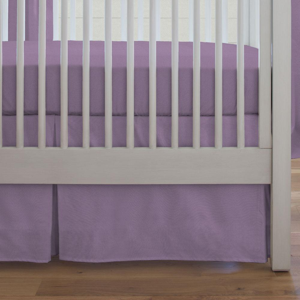 Product image for Solid Aubergine Purple Crib Skirt