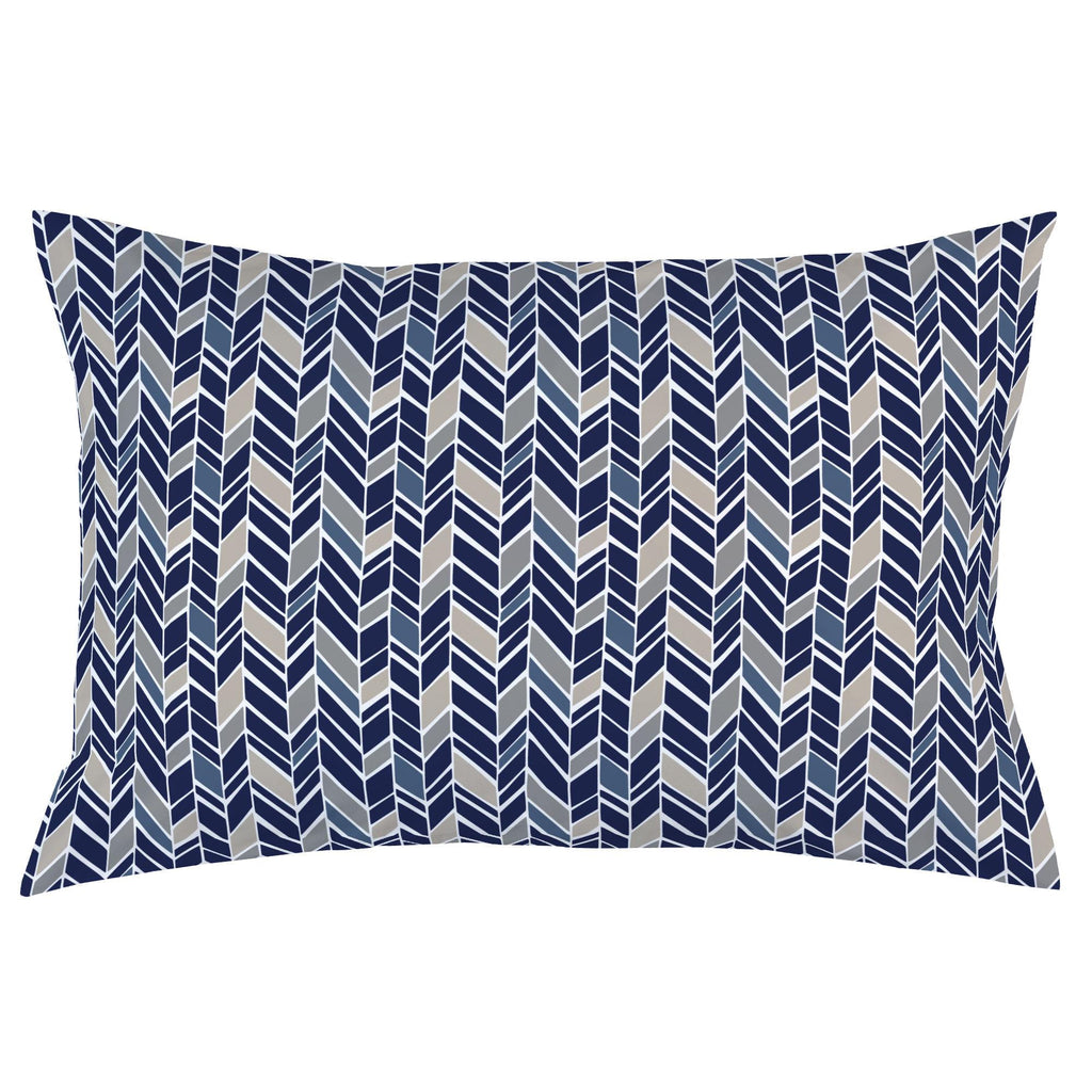 Product image for Taupe and Windsor Navy Herringbone Pillow Case