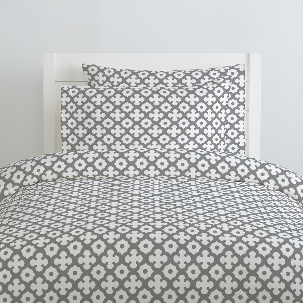 Product image for Cloud Gray Moroccan Tile Duvet Cover