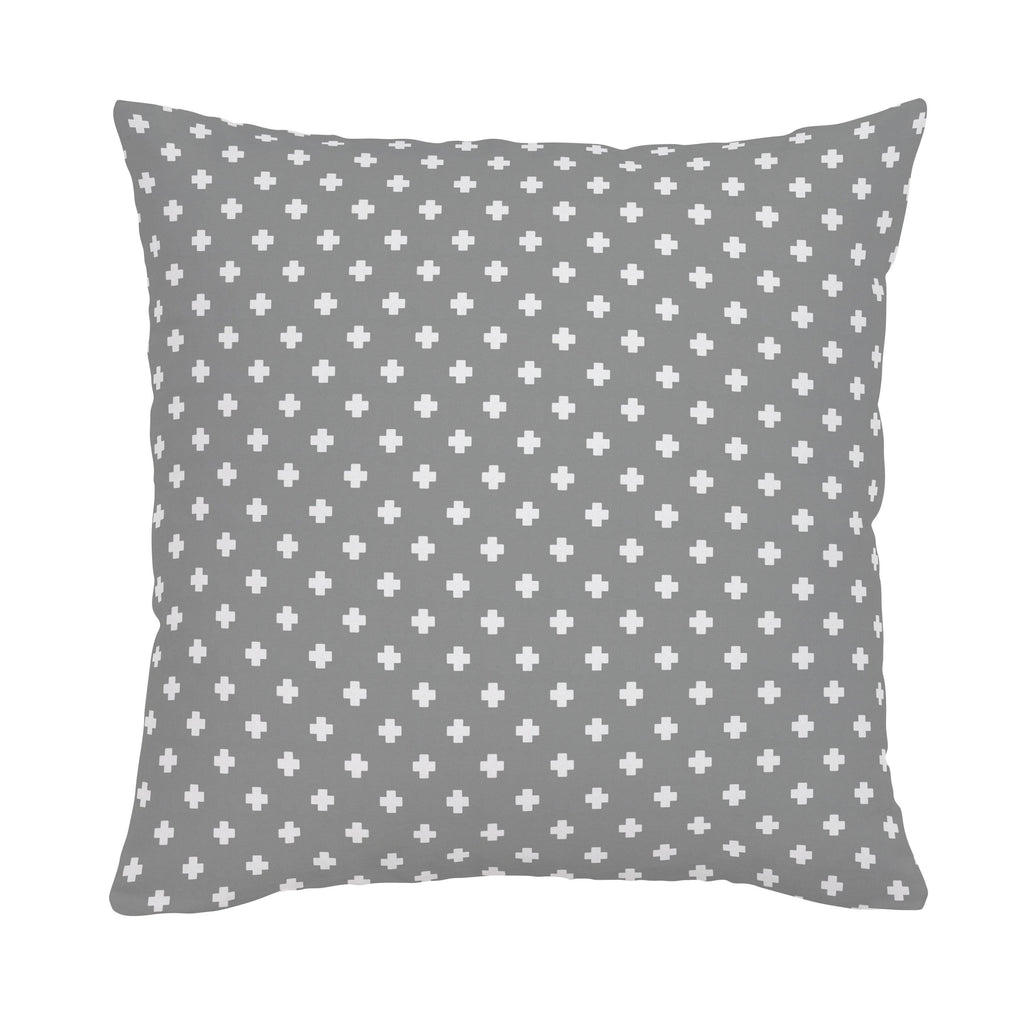 Product image for Gray Mini Swiss Cross Throw Pillow