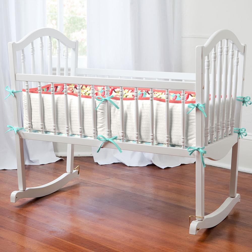 Product image for Coral and Teal Floral Cradle Bumper