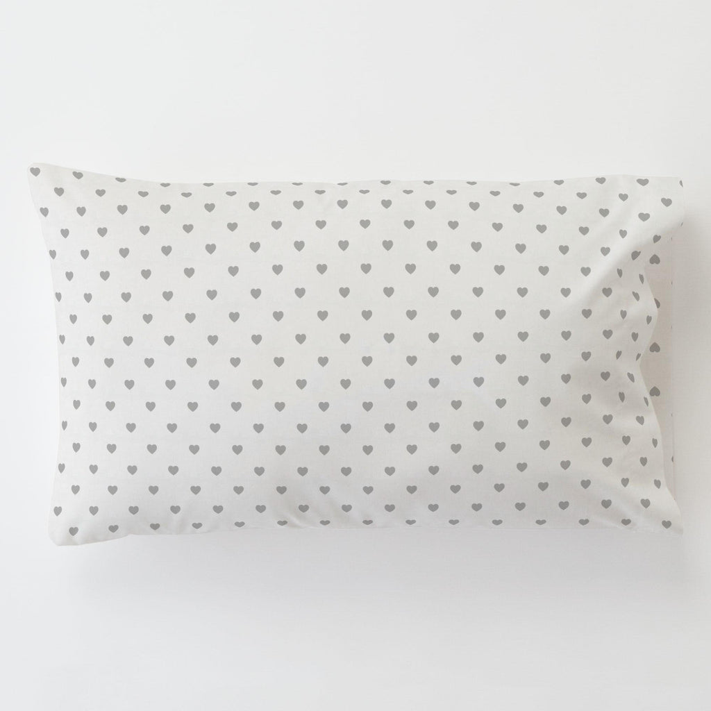 Product image for Gray Hearts Toddler Pillow Case with Pillow Insert
