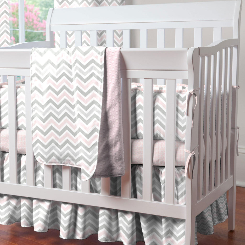 Product image for Pink and Gray Chevron Mini Crib Skirt Gathered