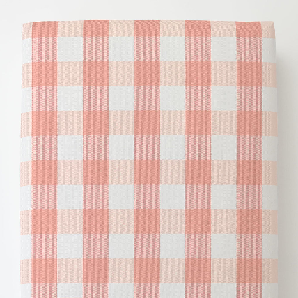 Product image for Light Coral and Peach Buffalo Check Toddler Sheet Bottom Fitted