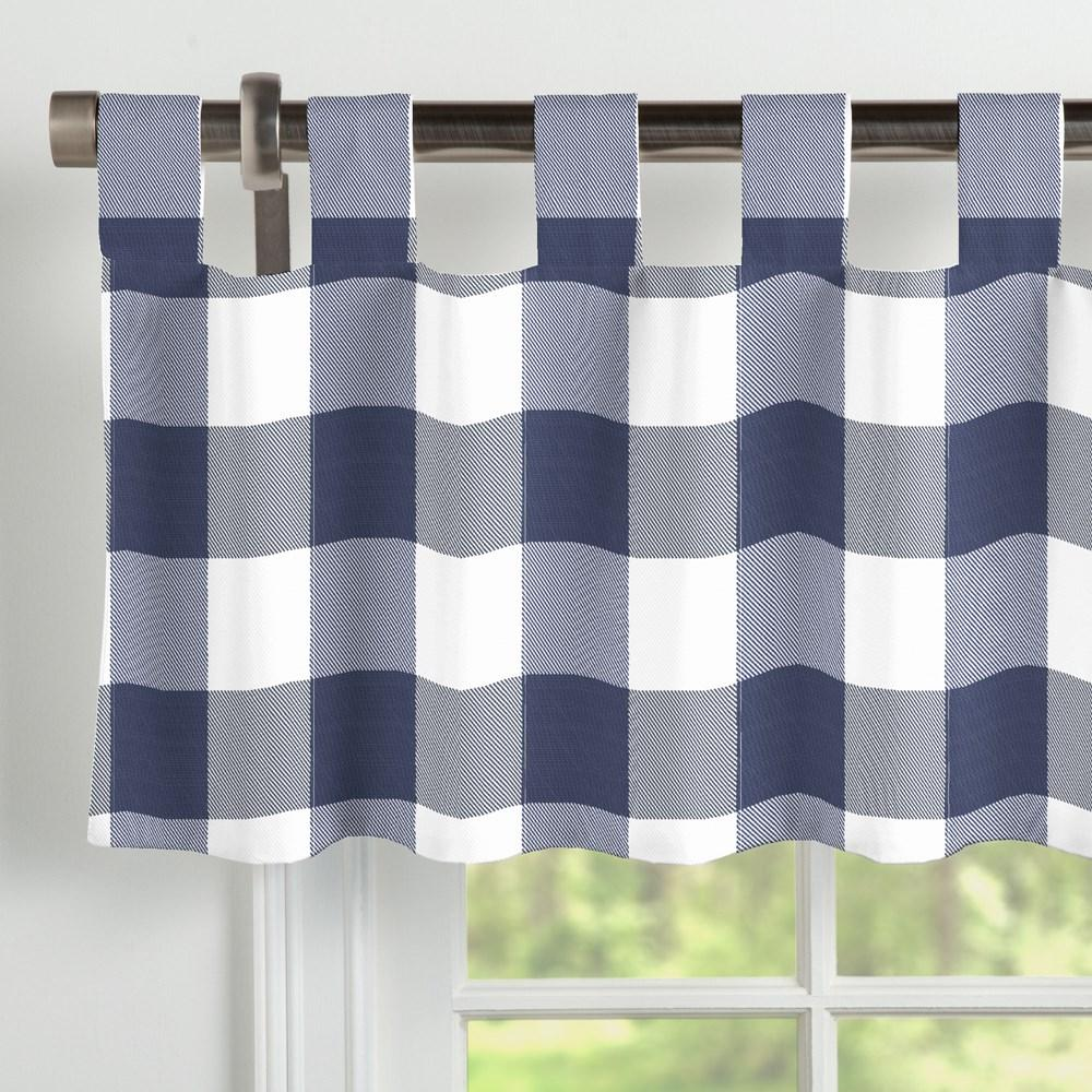 Product image for Navy and White Buffalo Check Window Valance Tab-Top