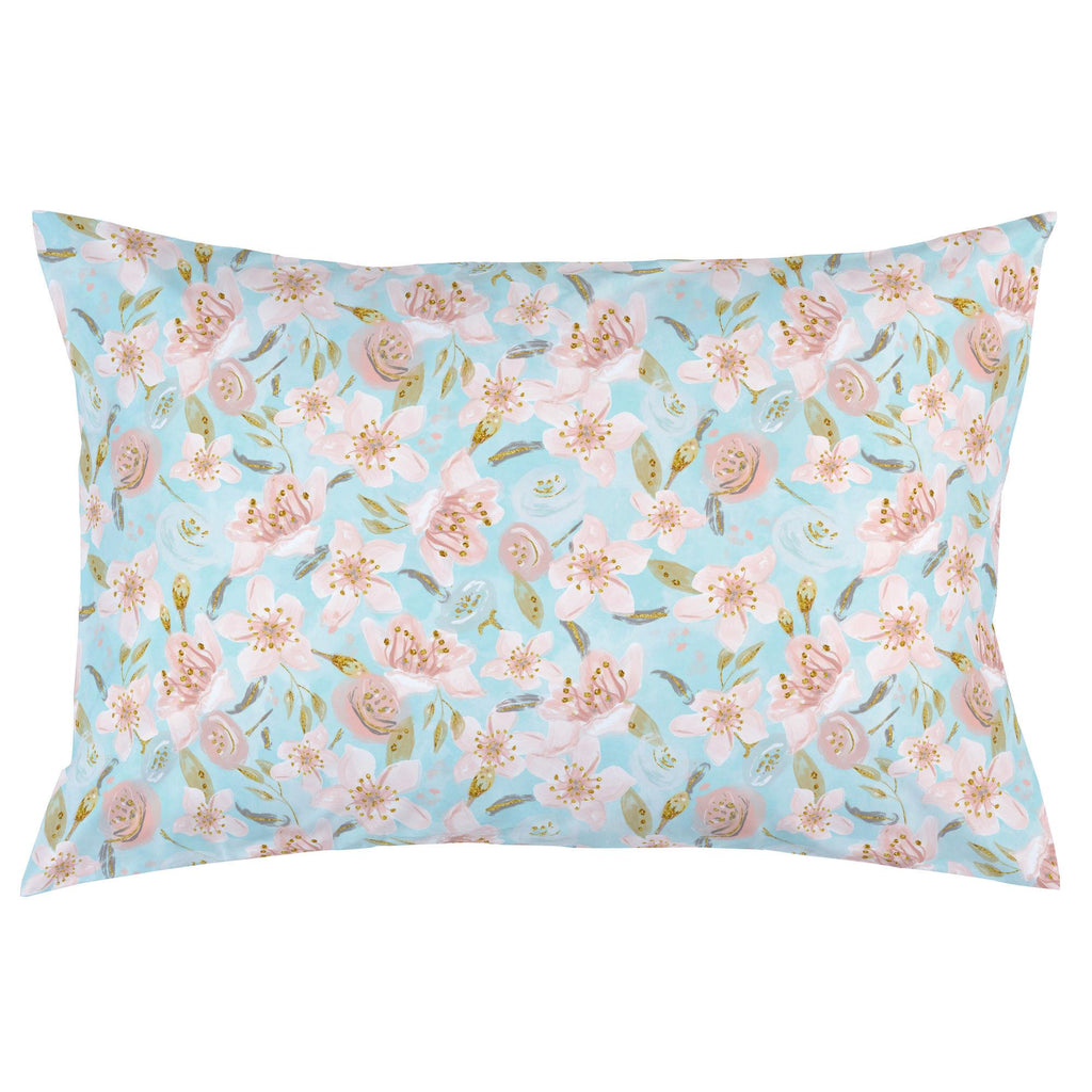 Product image for Aqua and Pink Hawaiian Floral Pillow Case