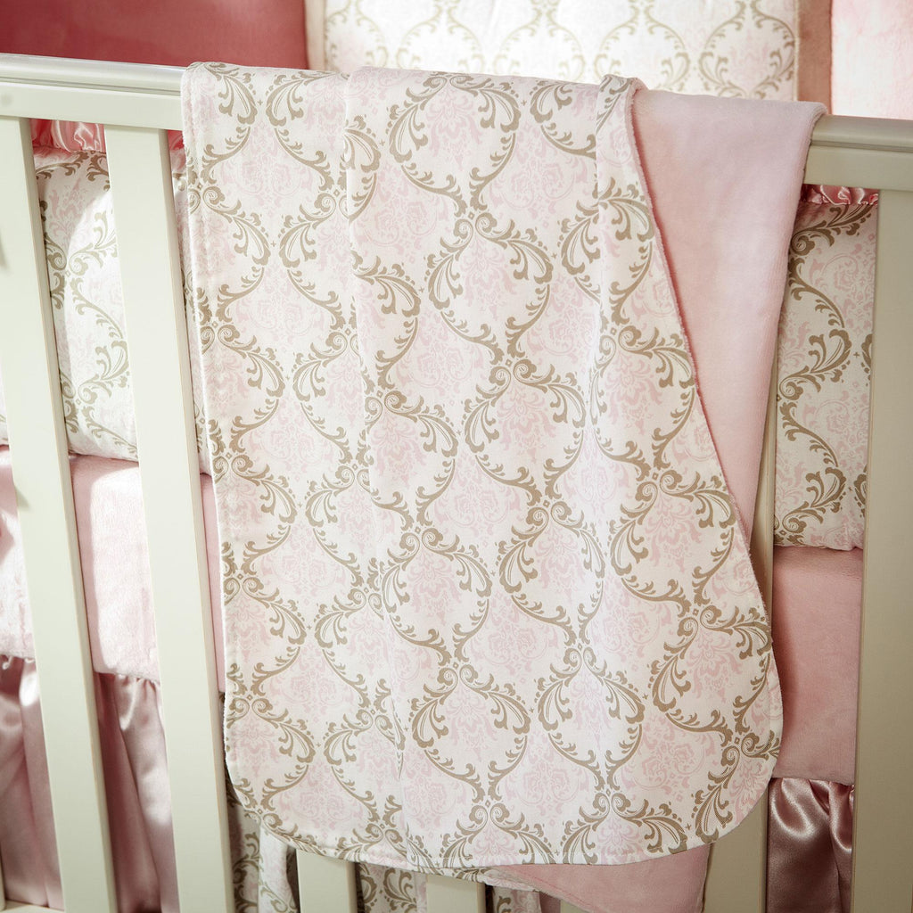 Product image for Pink and Taupe Damask Baby Blanket