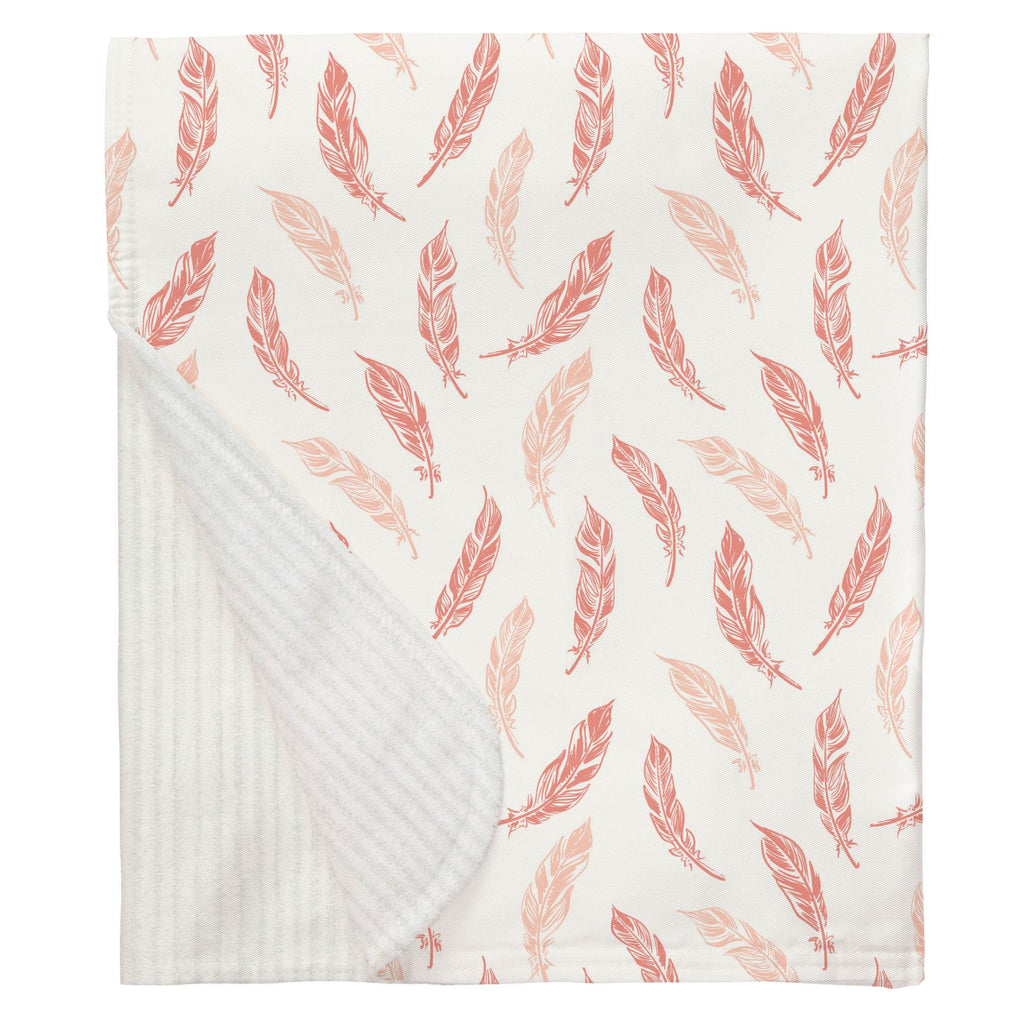 Product image for Light Coral and Peach Hand Drawn Feathers Baby Blanket