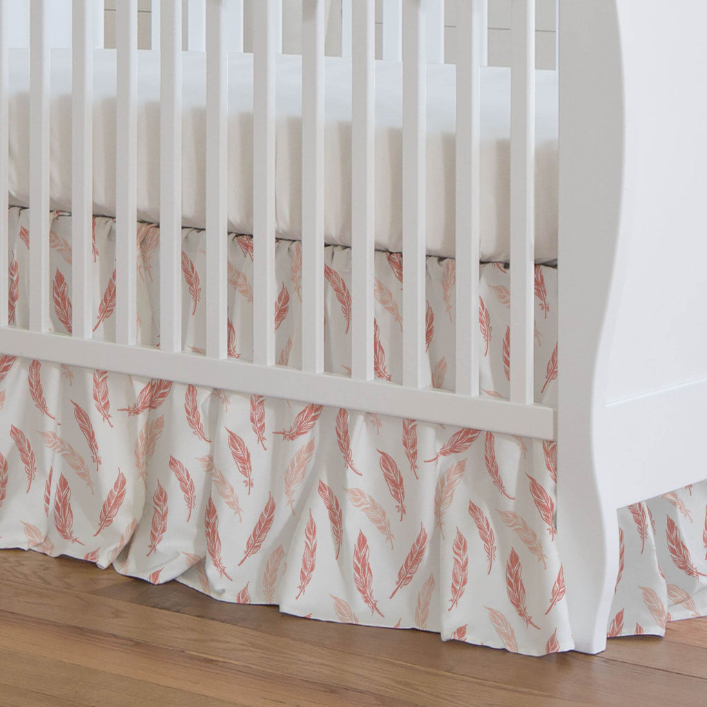 Product image for Light Coral and Peach Hand Drawn Feathers Crib Skirt Gathered