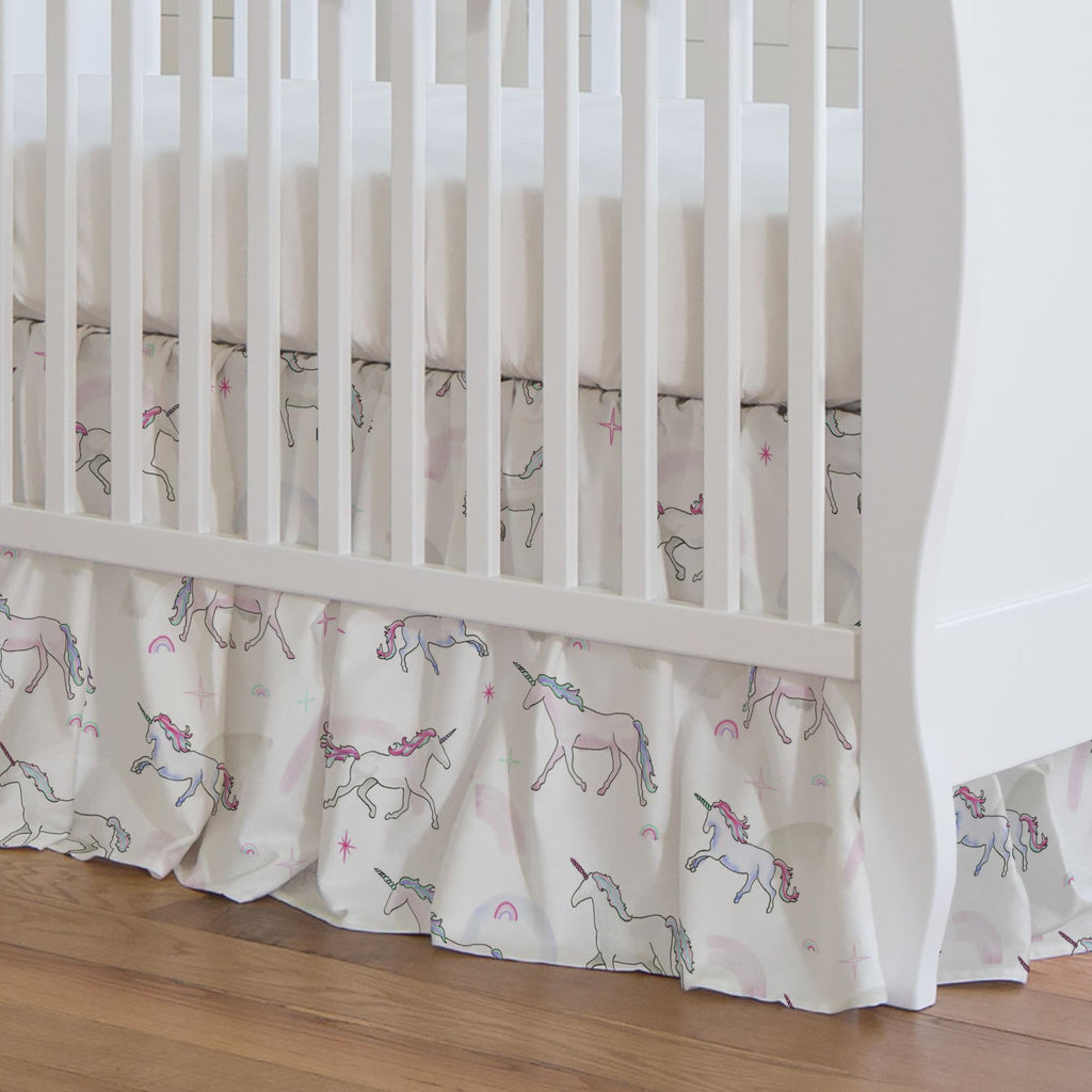 Product image for Watercolor Unicorns Crib Skirt Gathered