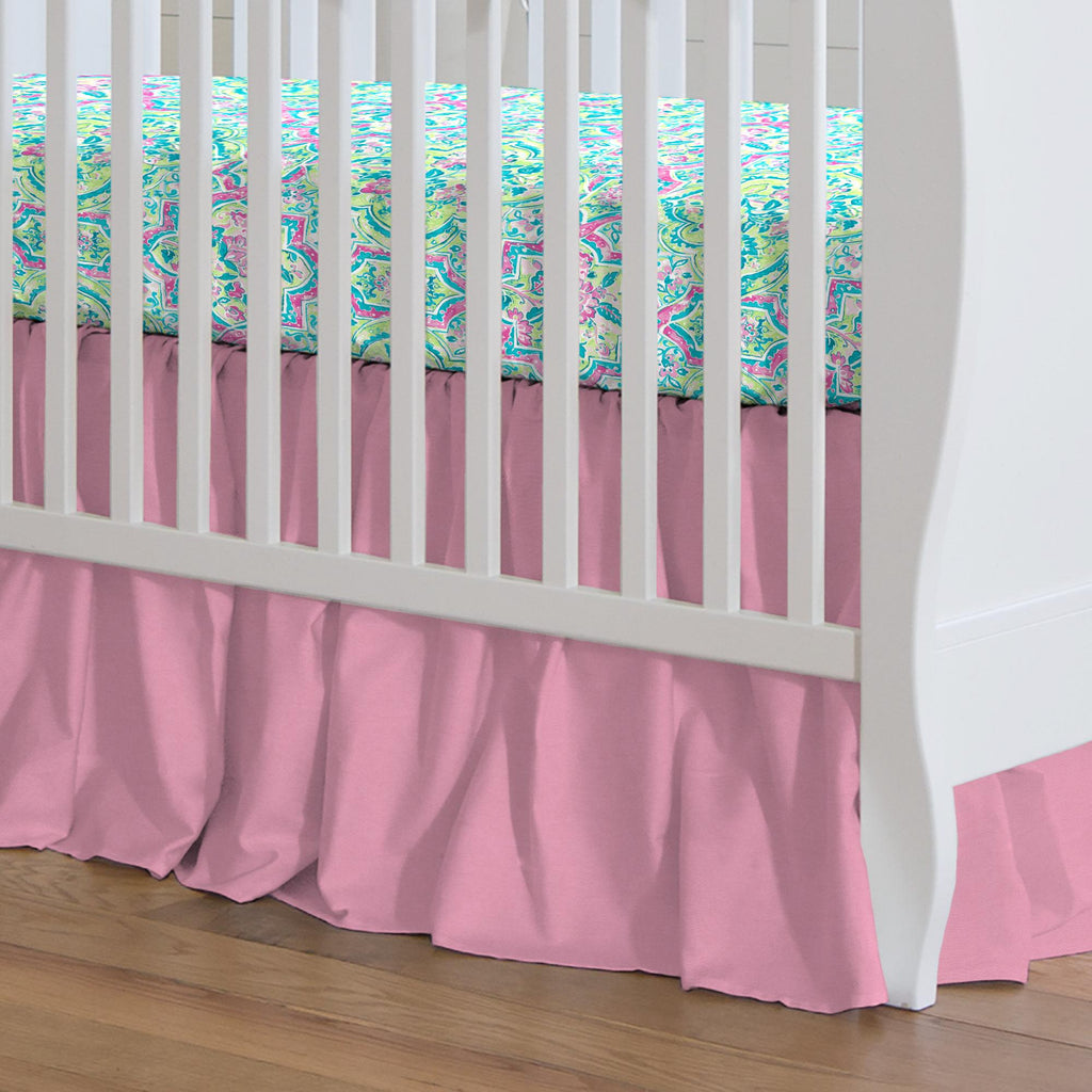 Product image for Solid Hot Pink Crib Skirt Gathered