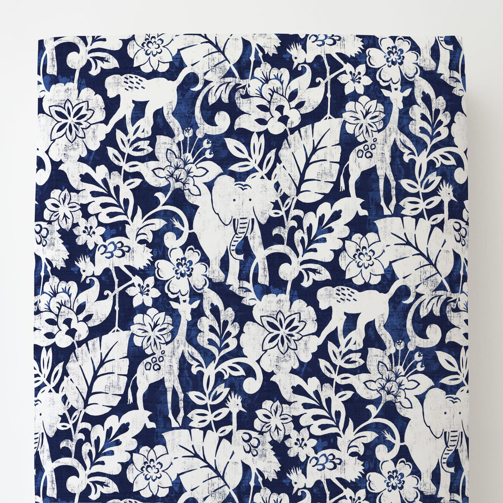 Product image for Navy and White Jungle Toddler Sheet Bottom Fitted