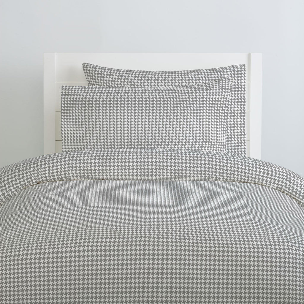 Product image for Cloud Gray and White Houndstooth Duvet Cover