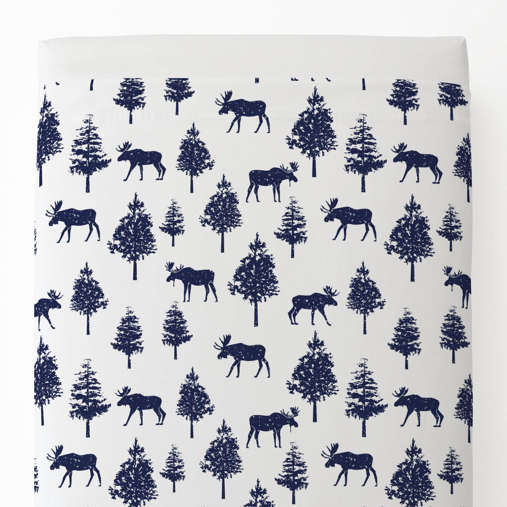 Product image for Navy Moose Toddler Sheet Top Flat
