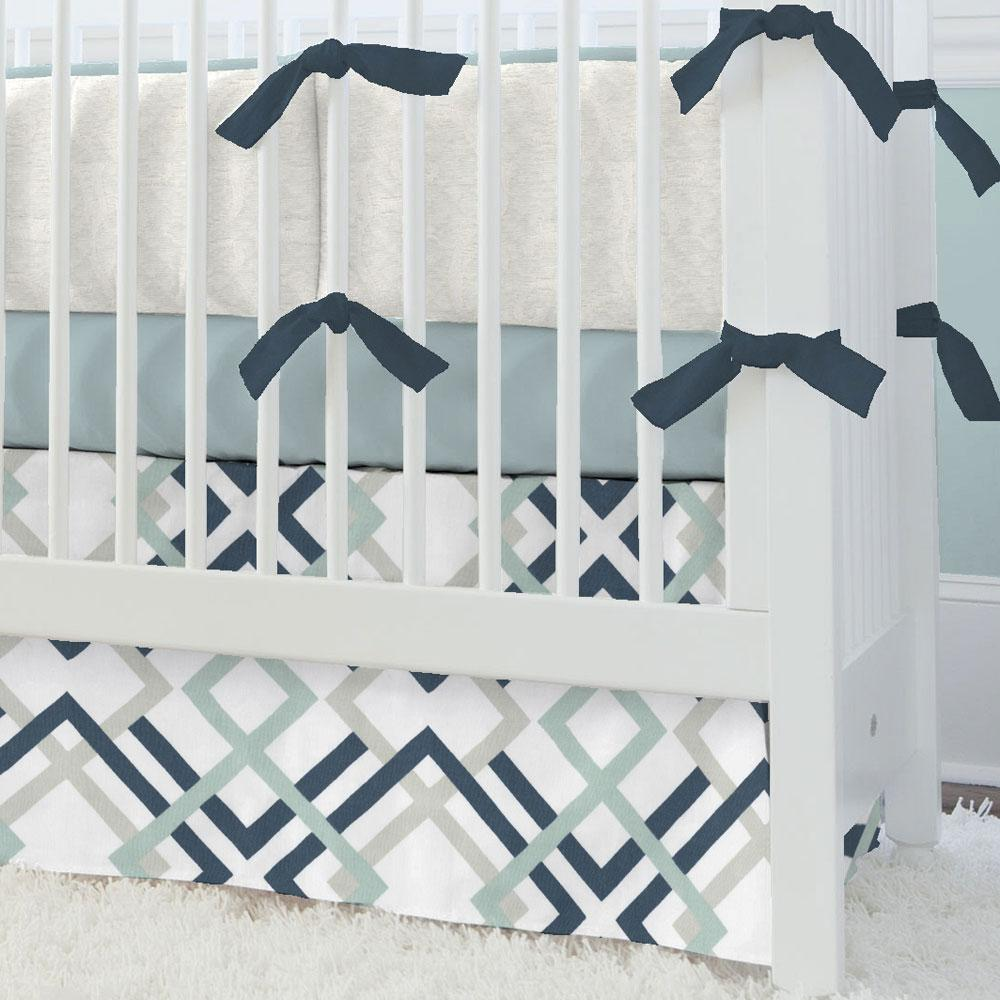Product image for Navy and Gray Geometric Crib Skirt