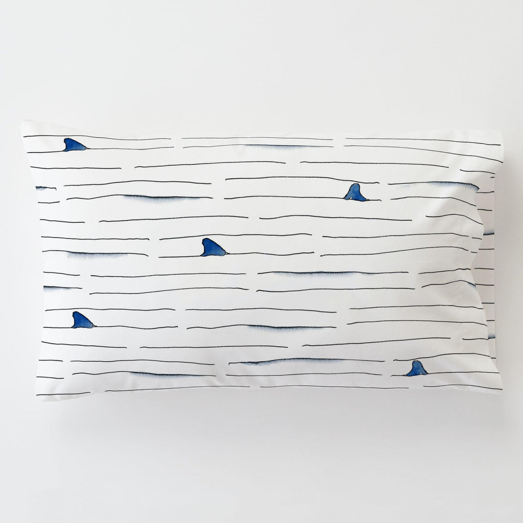 Product image for Shark Fin Stripe Toddler Pillow Case with Pillow Insert