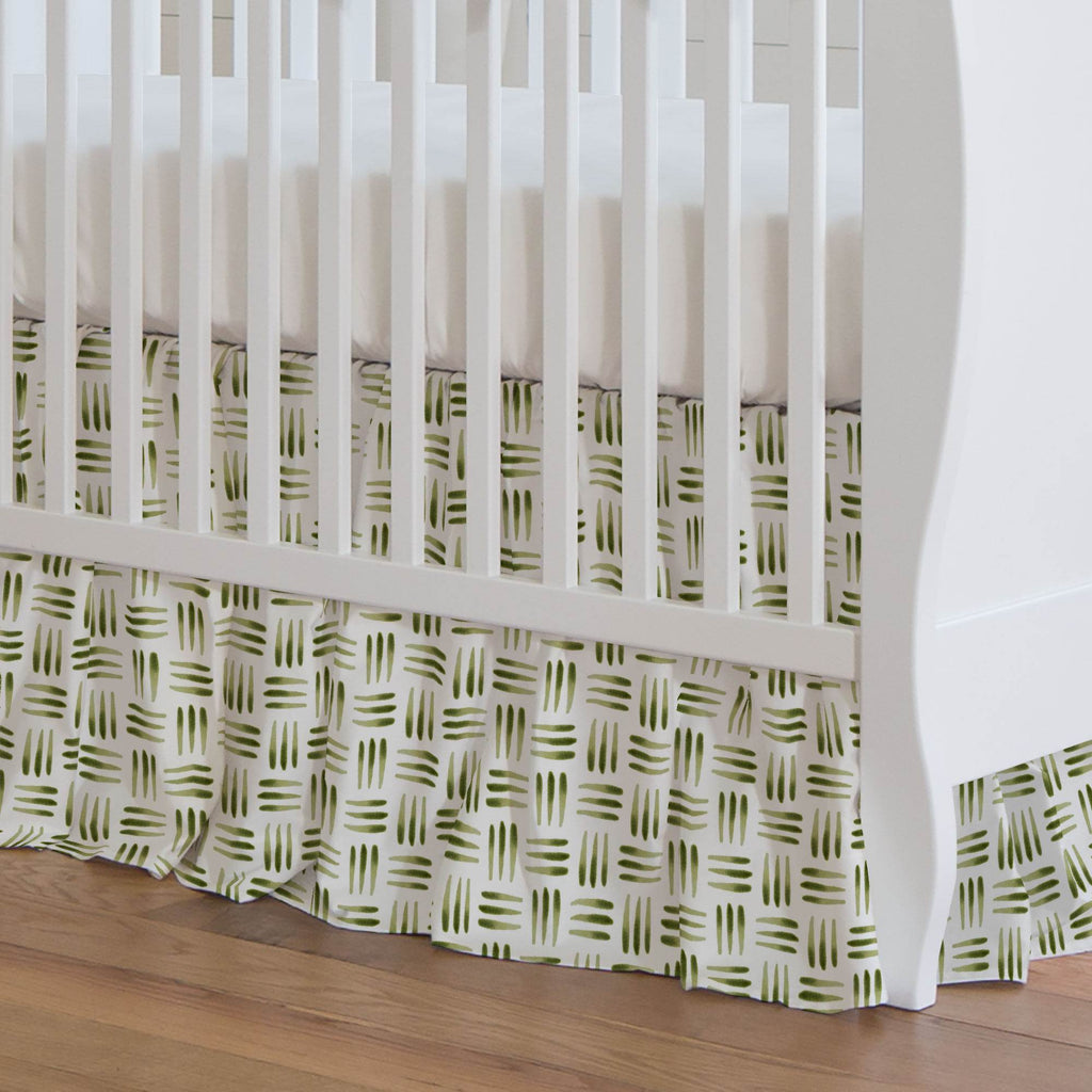 Product image for Sage Basket Crib Skirt Gathered