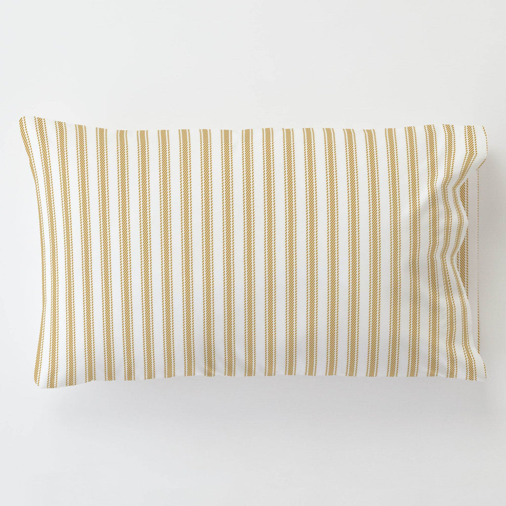Product image for Mustard Ticking Stripe Toddler Pillow Case with Pillow Insert