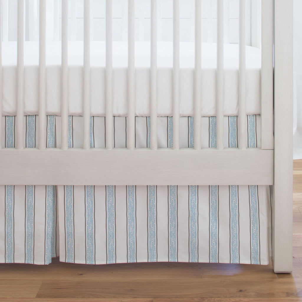 Product image for Gray and Lake Blue Beach Stripe Crib Skirt Single-Pleat