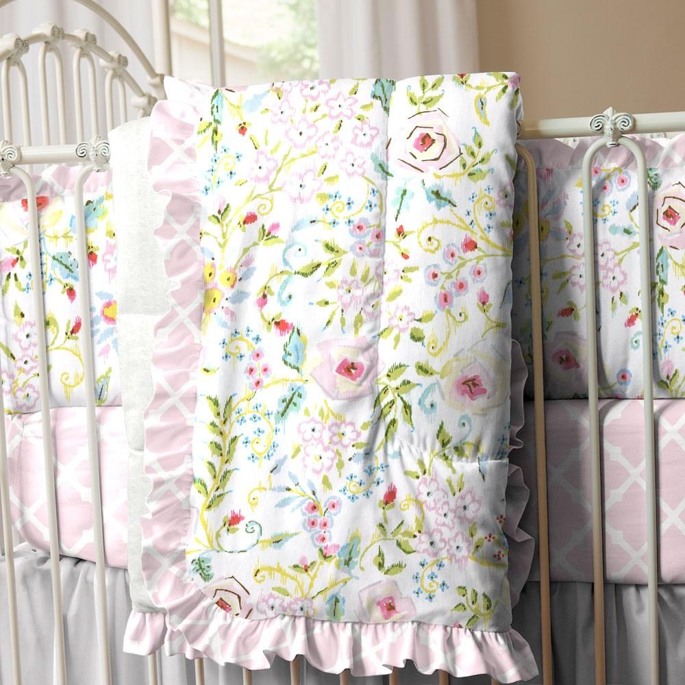 Product image for Pink Primrose Crib Comforter with Ruffle