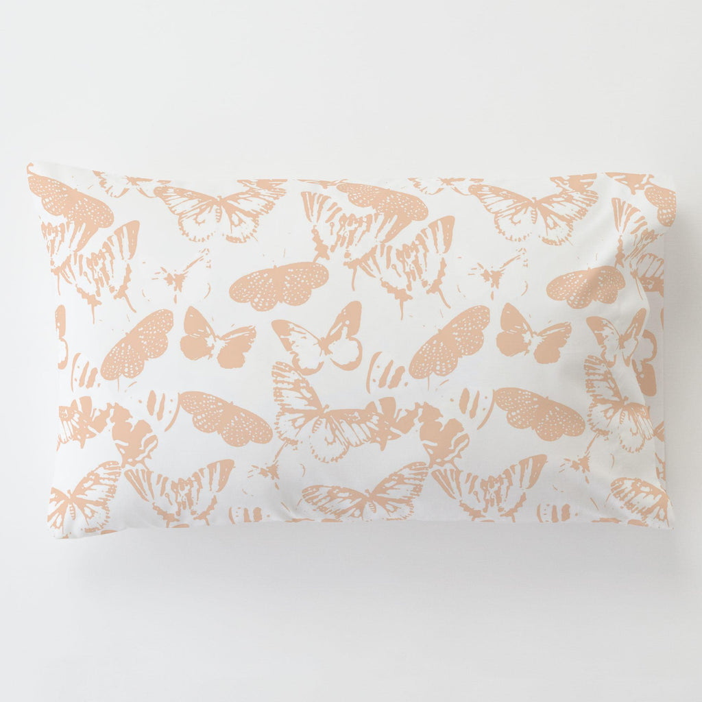 Product image for Peach Modern Butterflies Toddler Pillow Case with Pillow Insert