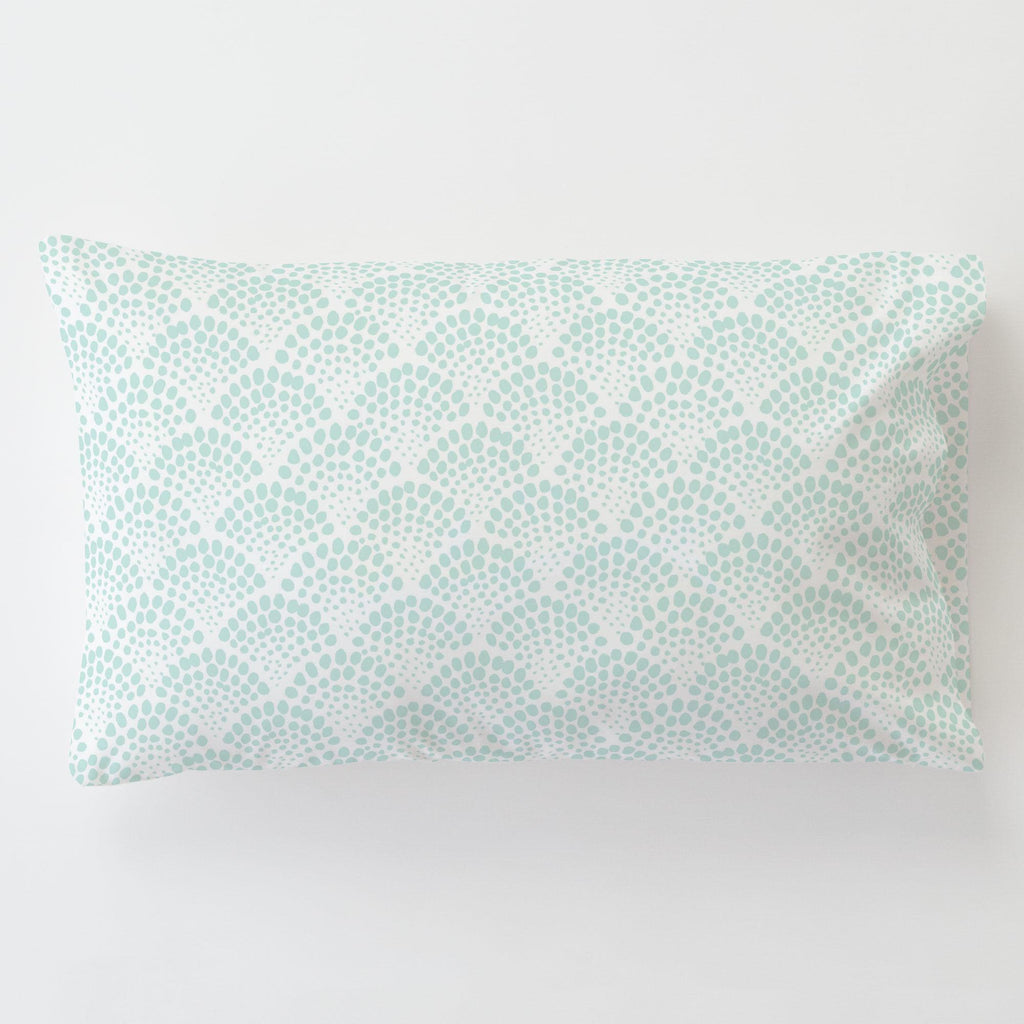 Product image for Icy Mint Scallop Dot Toddler Pillow Case with Pillow Insert