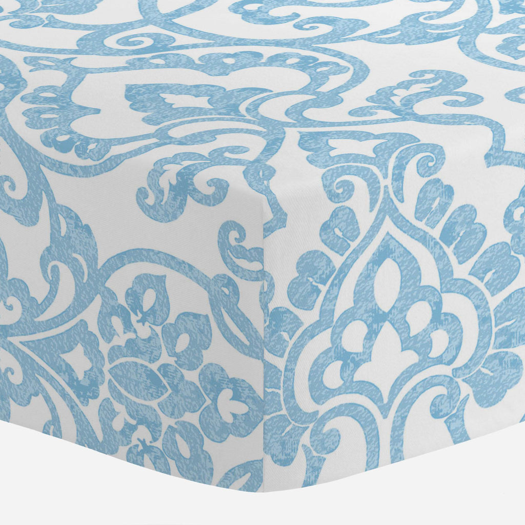 Product image for Blue Filigree Crib Sheet