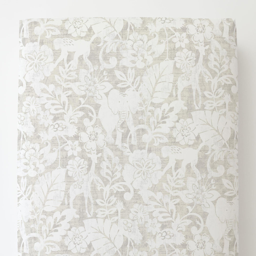 Product image for French Gray and White Jungle Toddler Sheet Bottom Fitted