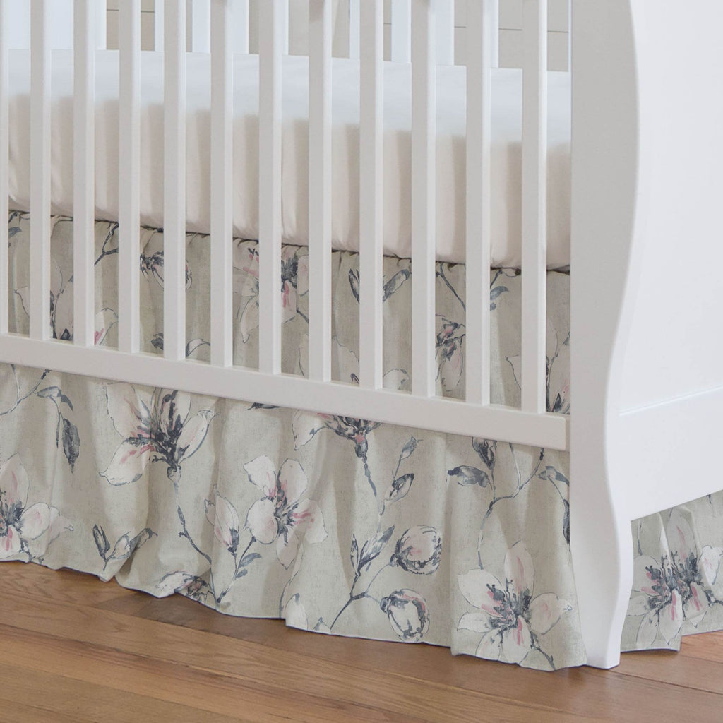 Product image for Pink and Blue Painted Lilies Crib Skirt Gathered
