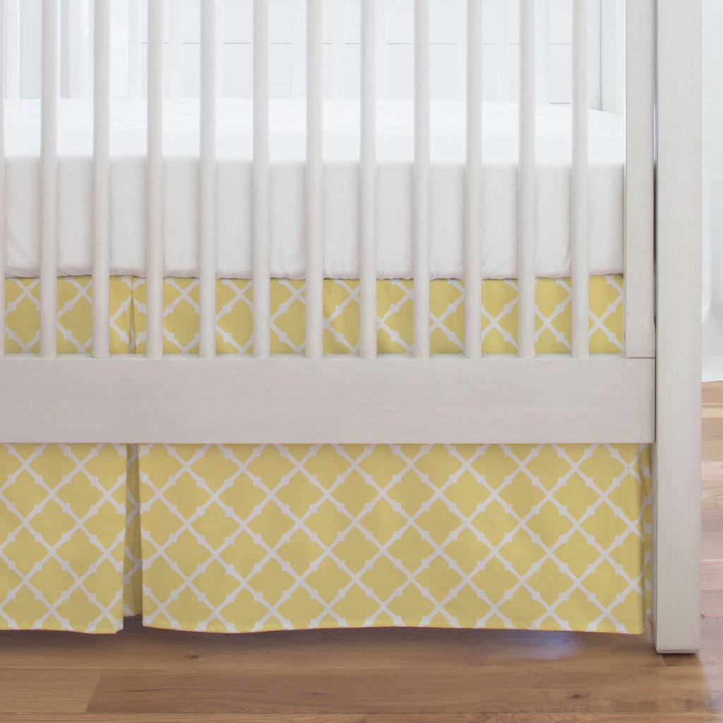 Product image for Banana Yellow Lattice Crib Skirt Single-Pleat