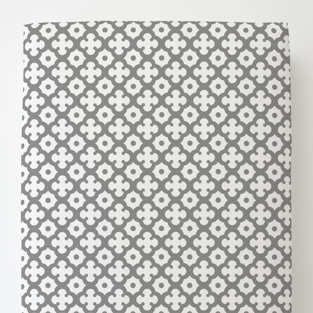 Product image for Cloud Gray Moroccan Tile Toddler Sheet Bottom Fitted