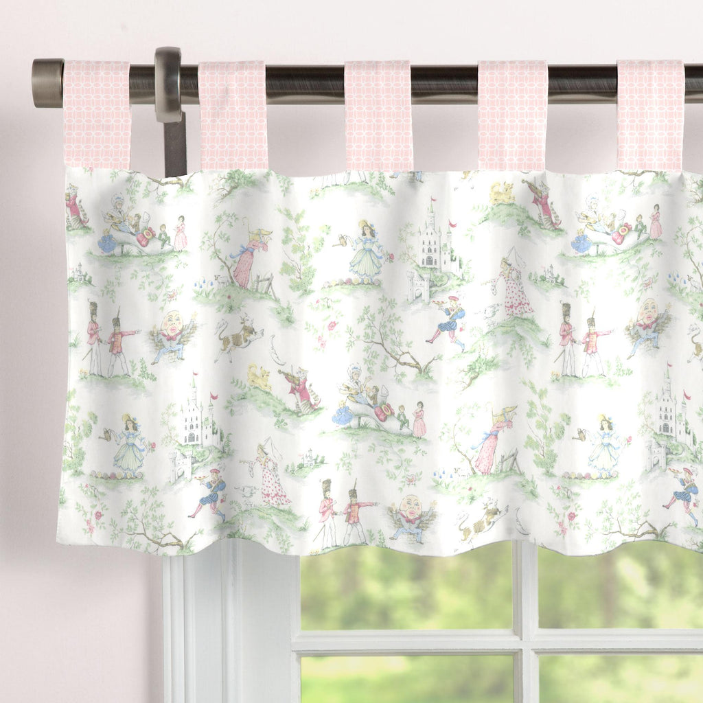 Product image for Pink and Nursery Rhyme Toile Window Valance Tab-Top
